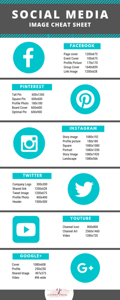 Social media image size cheat sheet by Cheryl Phan