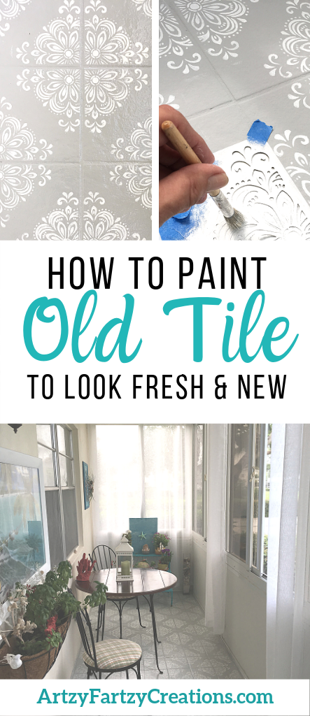 How to paint old outdated tile to look fresh and new by @Cheryl Phan - ArtzyFartzyCreations.com