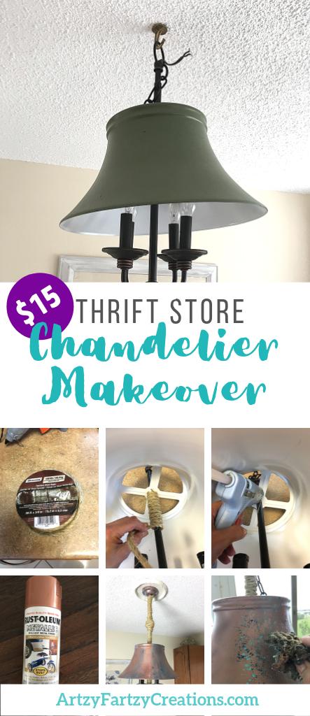 Thrift store chandelier makeover for $15 by Cheryl Phan @ArtzyFartzyCreations.com
