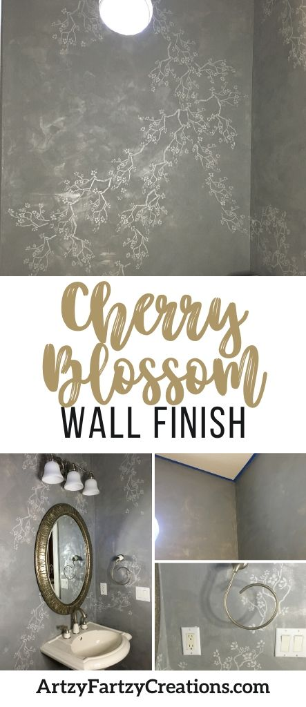 Cherry blossom decorative wall finish by Cheryl Phan - ArtzyFartzyCreations.com
