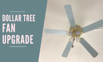 Update your ceiling fan with style using contact paper from the Dollar Tree for just $1.00