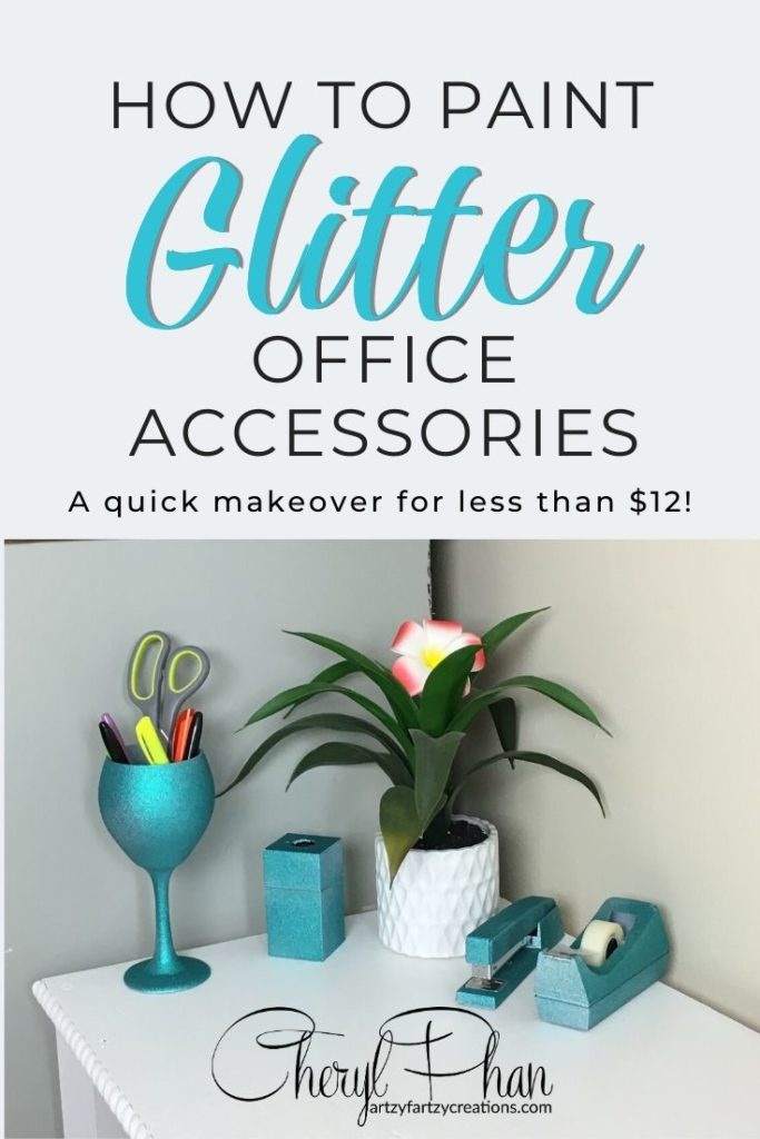 Learn how to paint Glitter office accessories for your office in less than 3 minutes for as little as $12
