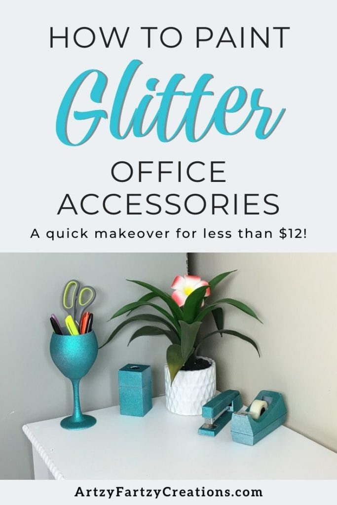 How to paint glitter office accessories