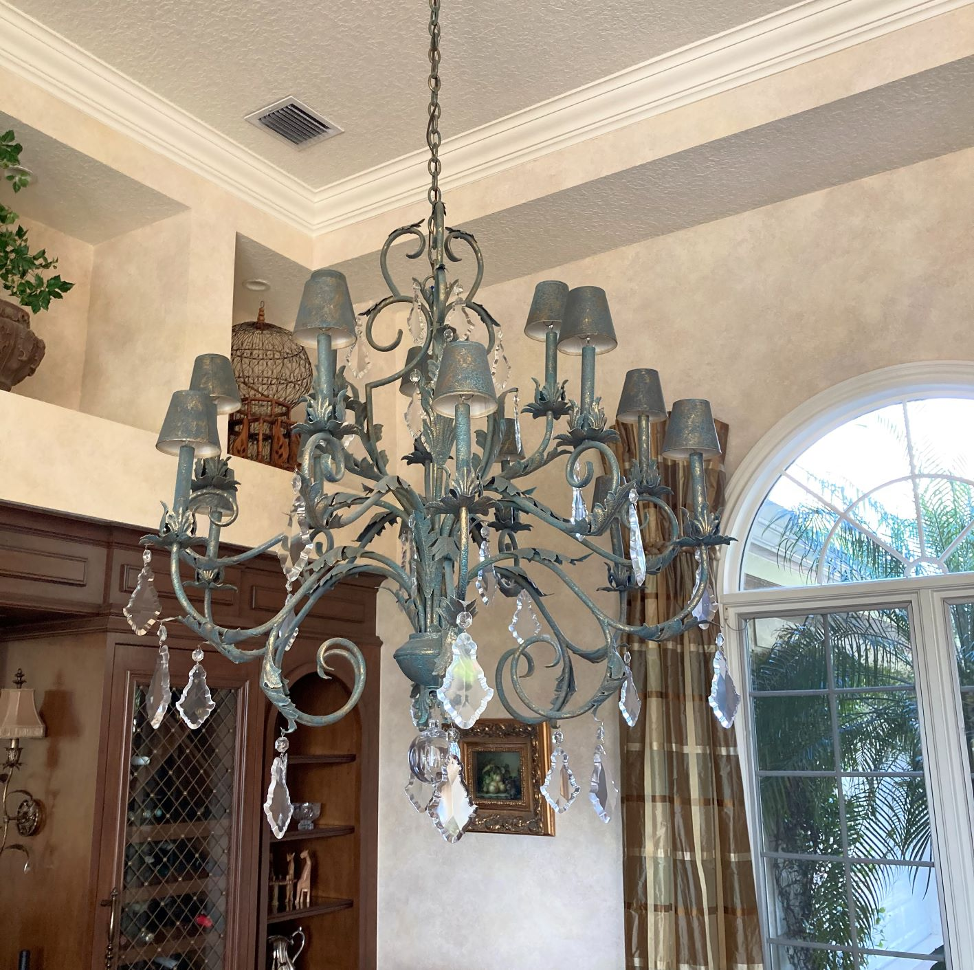 Painting a Chandelier While it is Still Hanging on the Ceiling