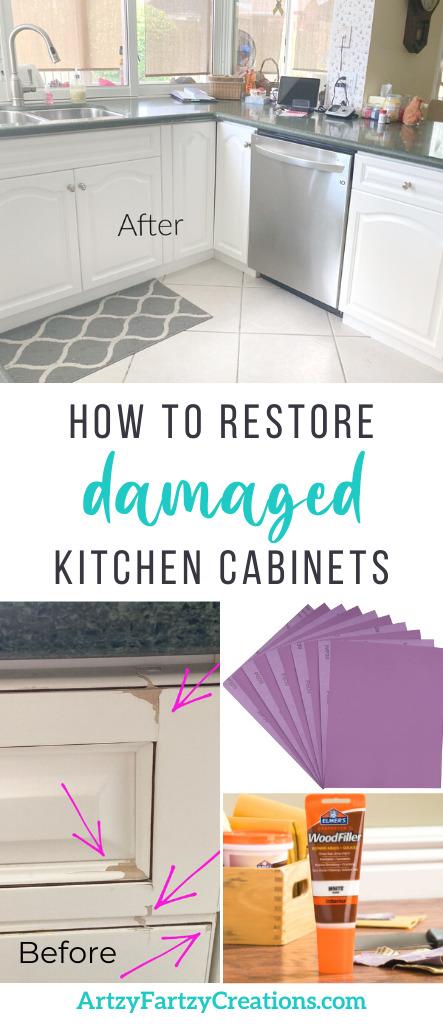 How to Restore Damaged Kitchen Cabinets - ArtzyFartzyCreations.com